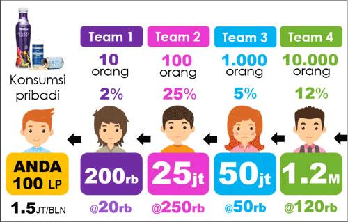 perhitungan bonus generasi duplikasi 10 orang 4life indonesia